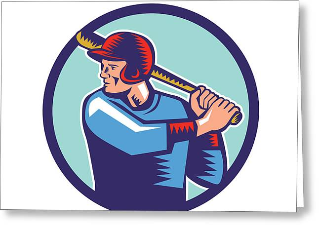 Baseball Player Batter Batting Circle Woodcut Greeting Card by Aloysius Patrimonio