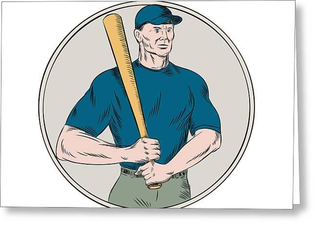 Baseball Player Batter Holding Bat Etching Greeting Card