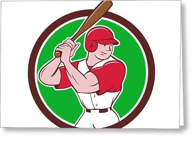 Baseball Player Batting Stance Circle Cartoon Greeting Card