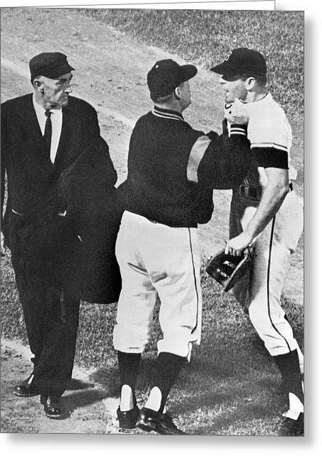 Baseball Player Ejected Greeting Card by Underwood Archives