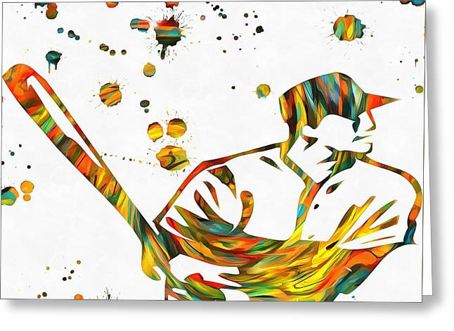 Baseball Player Paint Splatter Greeting Card by Dan Sproul