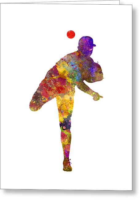 Baseball Player Throwing A Ball Greeting Card
