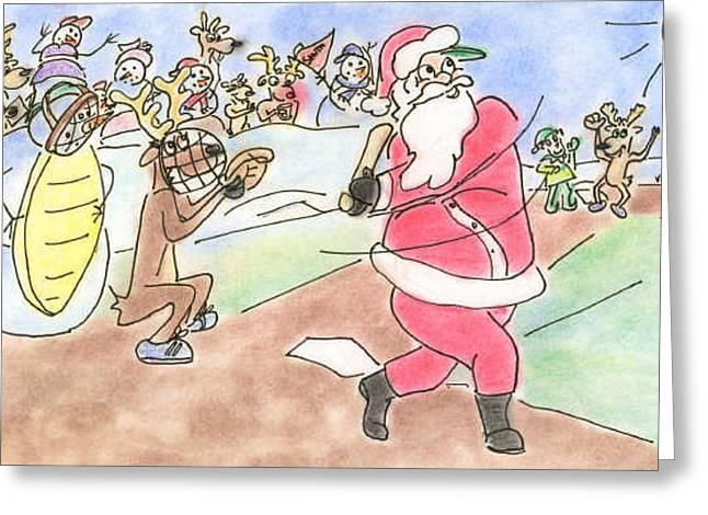 Baseball Santa Greeting Card by Vonda Lawson-Rosa