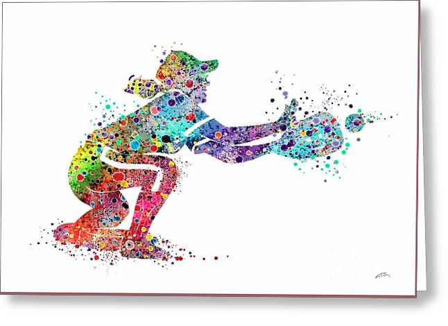 Baseball Softball Catcher 2 Sports Art Print Greeting Card by Svetla Tancheva