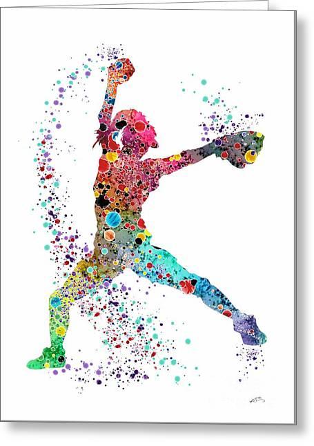Baseball Softball Pitcher Watercolor Print Greeting Card by Svetla Tancheva