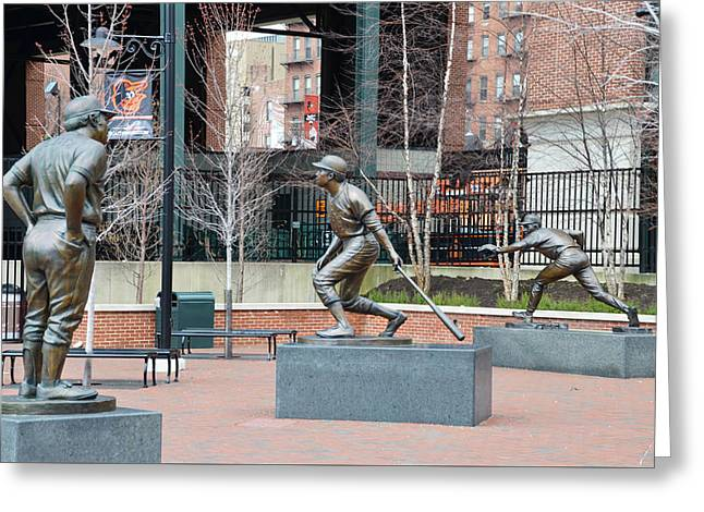Baseball Statues At Camden Yards - Baltimore Maryland Greeting Card