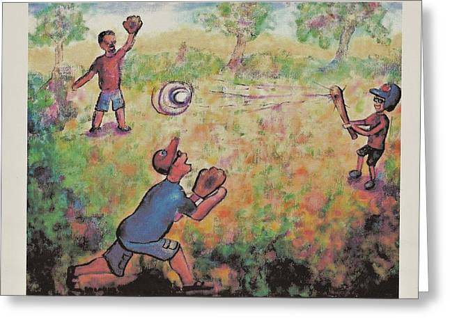 Baseball Greeting Card by Suzanne  Marie Leclair