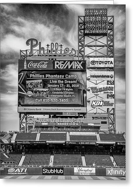 Baseball Time In Philly - Bw Greeting Card