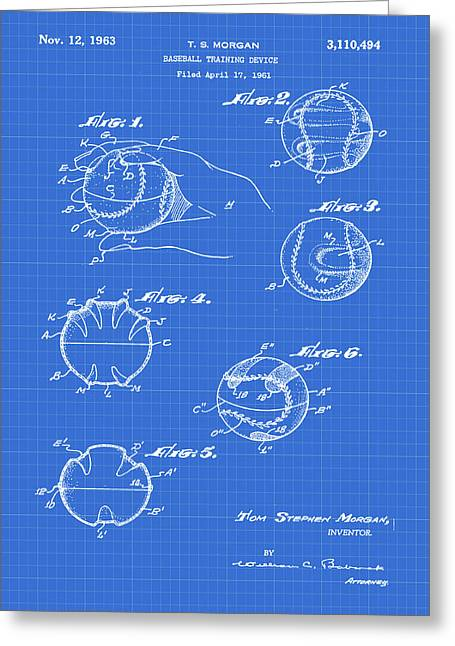 Baseball Training Device Patent 1961 Blueprint Greeting Card by Bill Cannon
