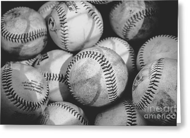 Baseballs In Black And White Greeting Card