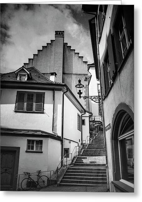 Basel Old Town In Black And White  Greeting Card