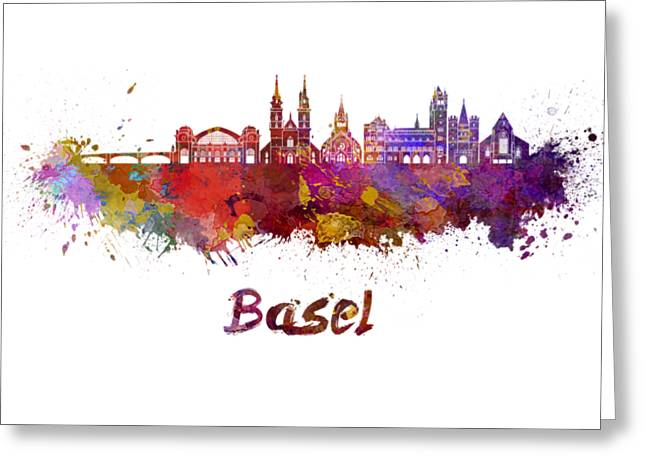 Basel Skyline In Watercolor Greeting Card