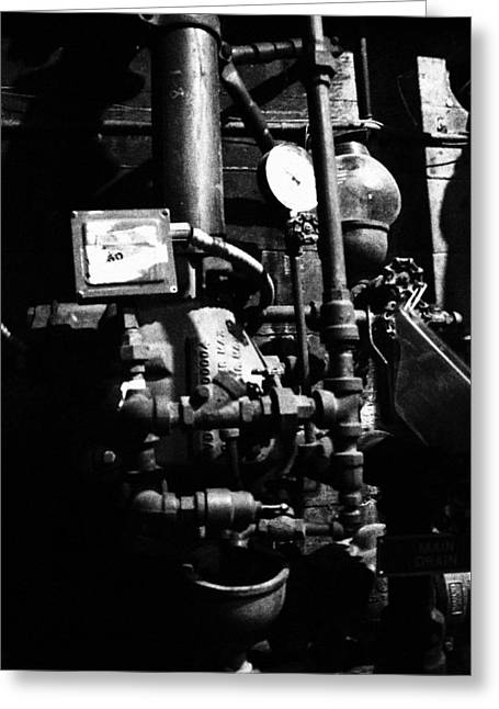 Basement Waterpipes Greeting Card by Emma Jones