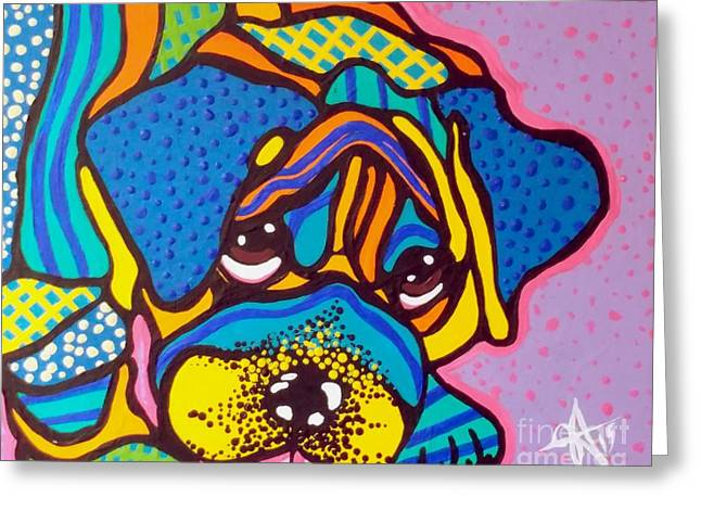 Bashful Dog Puppy Greeting Card by Jackie Carpenter