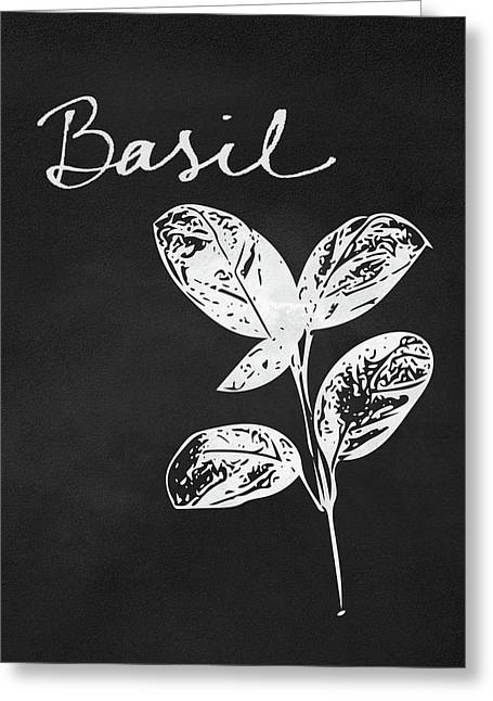 Basil Black And White- Art By Linda Woods Greeting Card