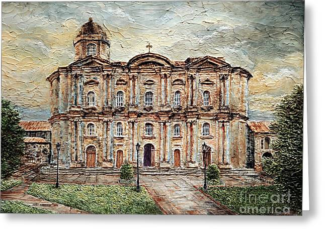 Greeting Card featuring the painting Basilica De San Martin De Tours by Joey Agbayani