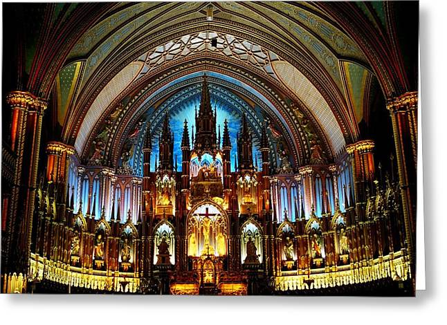 Notre - Dame Basilica - Montreal Greeting Card by Juergen Weiss