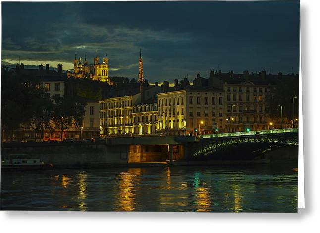 Basilica Notre Dame De Fourviere From Across The Rhone River Greeting Card by Allen Sheffield