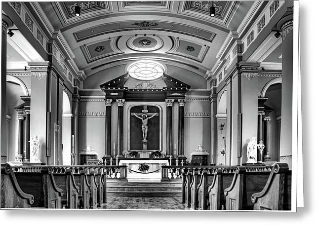 Greeting Card featuring the photograph Basilica Of Saint Louis King - Black And White by Nikolyn McDonald