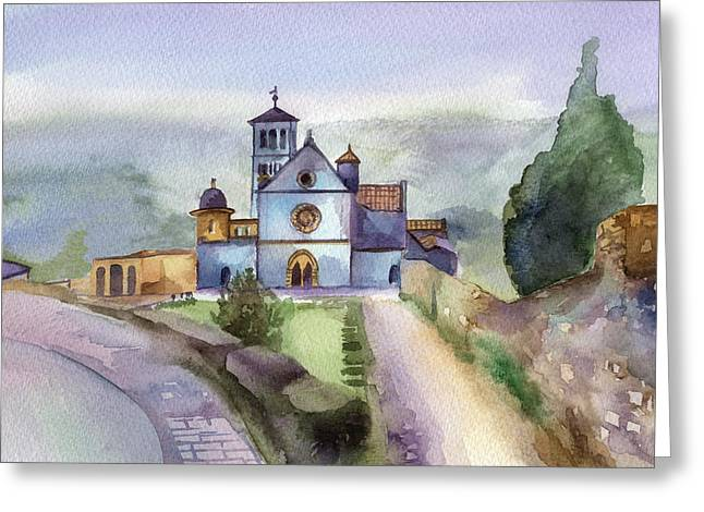 Francis Greeting Cards - Basilica of St Francis  Assisi Greeting Card by Lydia Irving