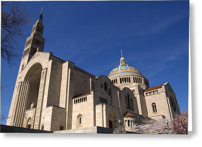 Basilica Of The National Shrine Of The Immaculate Conception Washington Dc Greeting Card by Wayne Higgs
