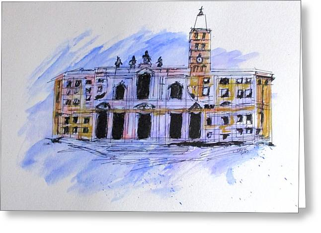 Greeting Card featuring the painting Basilica St Mary Major by Clyde J Kell
