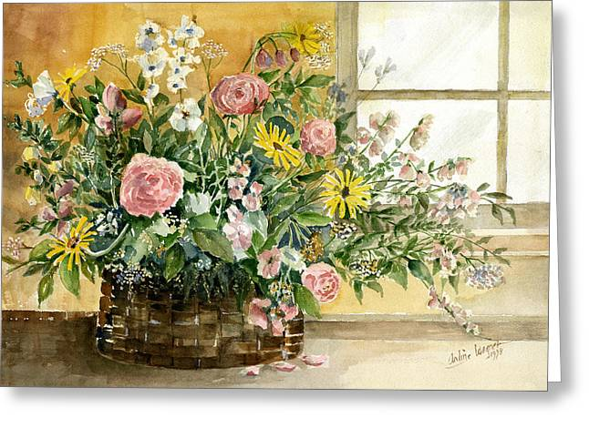 Basket Bouquet Greeting Card by Arline Wagner