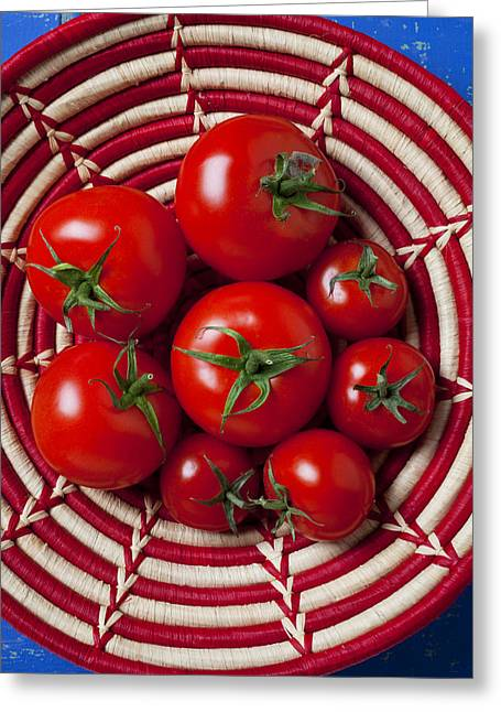Culinary Photographs Greeting Cards - Basket full of red tomatoes  Greeting Card by Garry Gay