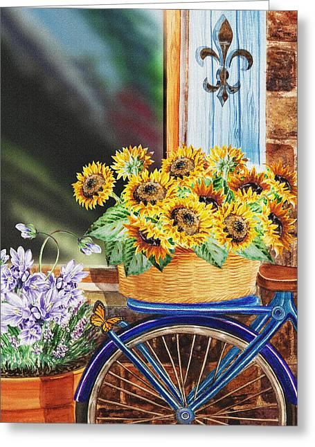 Basket Full Of Sunflowers Greeting Card by Irina Sztukowski