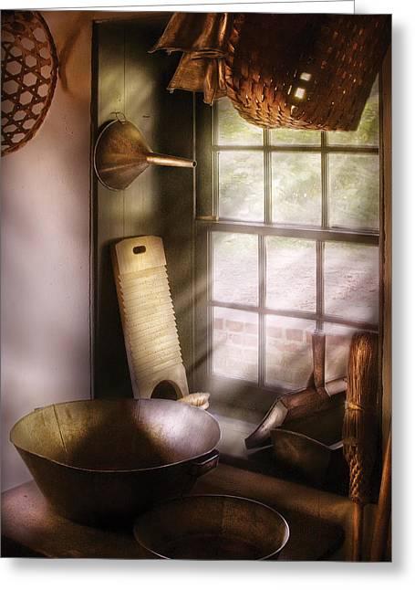 Basket Maker Greeting Cards - Basket Maker - In a basket makers house  Greeting Card by Mike Savad