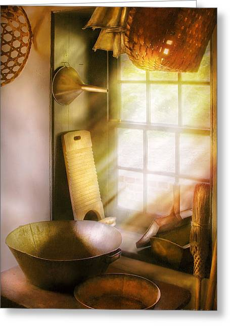 Basket Maker - In A Basket Makers House  Greeting Card by Mike Savad