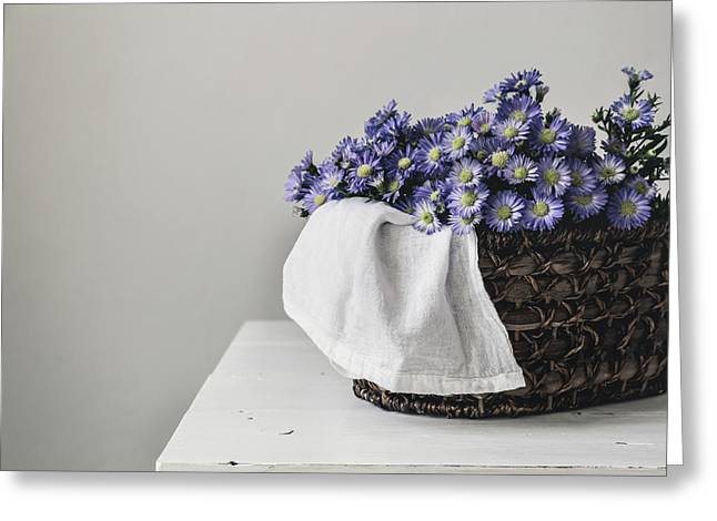 Basket Of Asters Greeting Card