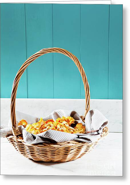 Basket Of Chanterelles On A Mediterranean Table Greeting Card by Wolfgang Steiner