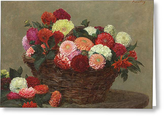 Basket Of Dahlias Greeting Card
