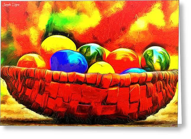 Basket Of Eggs - Da Greeting Card