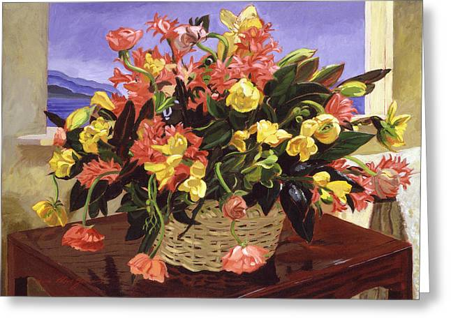 Basket Of Flowers Greeting Card by David Lloyd Glover