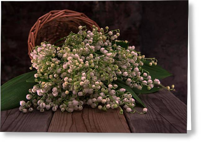 Greeting Card featuring the photograph Basket Of Fresh Lily Of The Valley Flowers by Jaroslaw Blaminsky