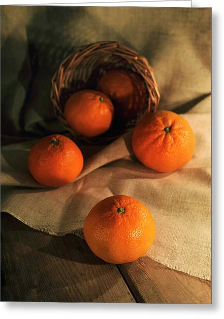 Greeting Card featuring the photograph Basket Of Fresh Tangerines by Jaroslaw Blaminsky