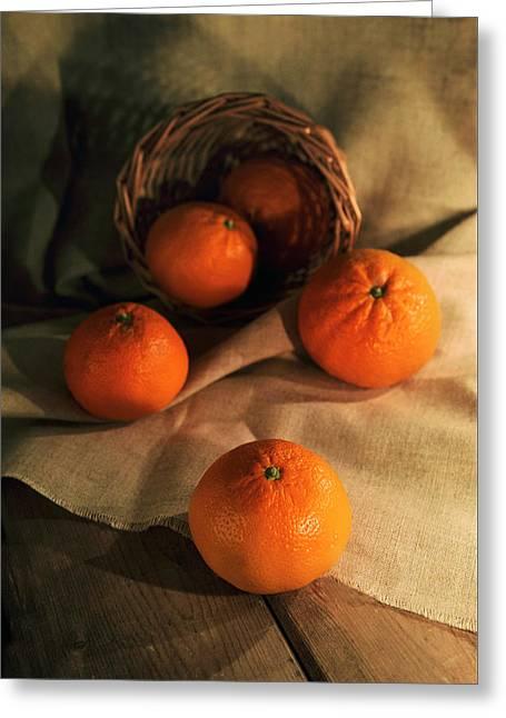 Basket Of Fresh Tangerines Greeting Card by Jaroslaw Blaminsky