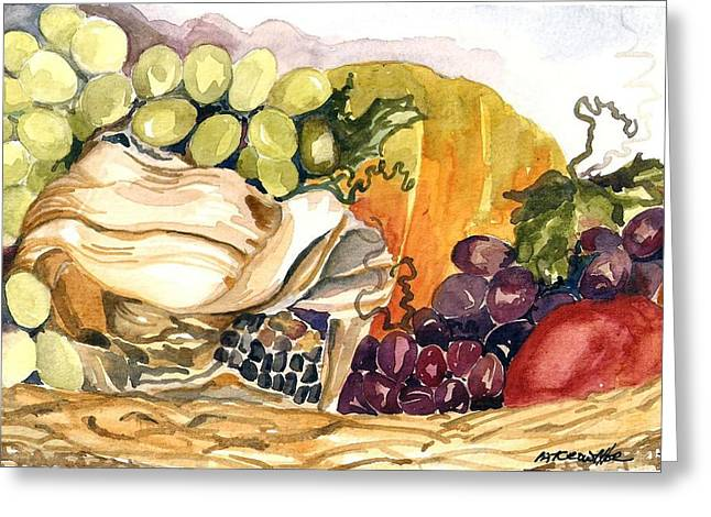 Greeting Card featuring the painting Basket Of Fruit by Pat Crowther