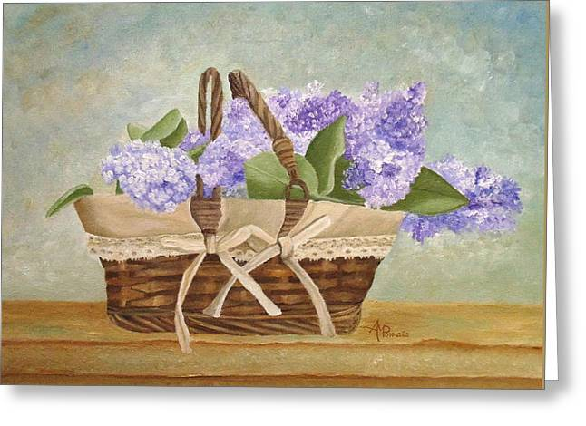 Greeting Card featuring the painting Basket Of Lilacs by Angeles M Pomata