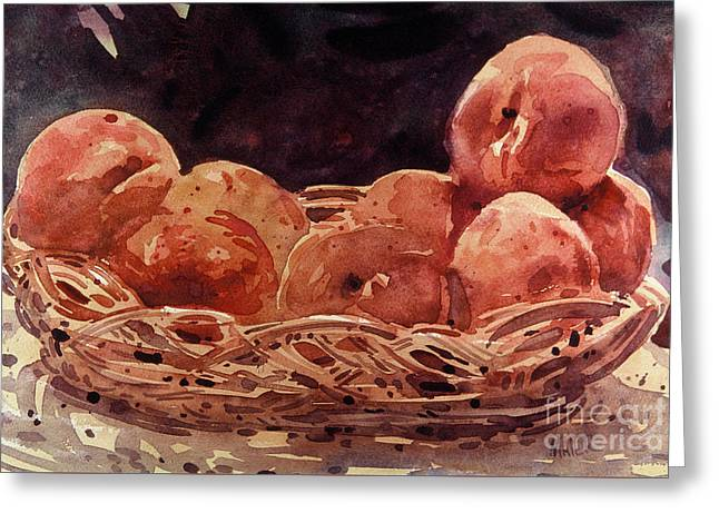 Basket Of Peaches Greeting Card by Donald Maier