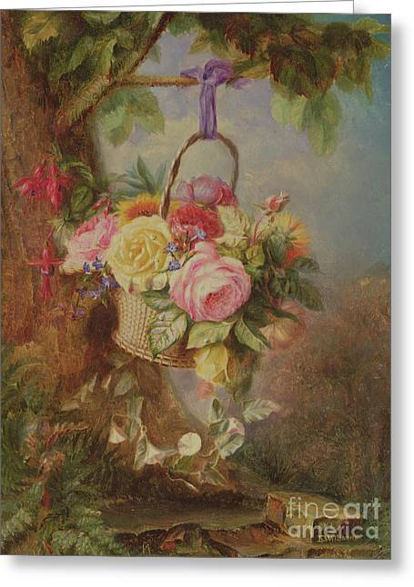Basket Of Roses With Fuschia, 19th Century Greeting Card