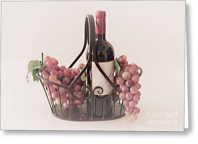 Basket Of Wine And Grapes Greeting Card