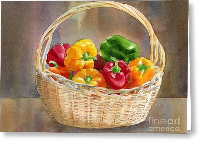 Basket Of Yellow Green And Red Peppers Greeting Card by Sharon Freeman
