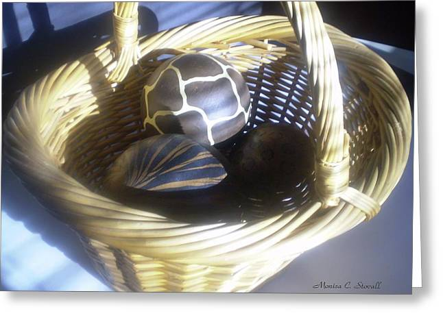 Basket With Brown Patterned Decor In The Sunlight Greeting Card