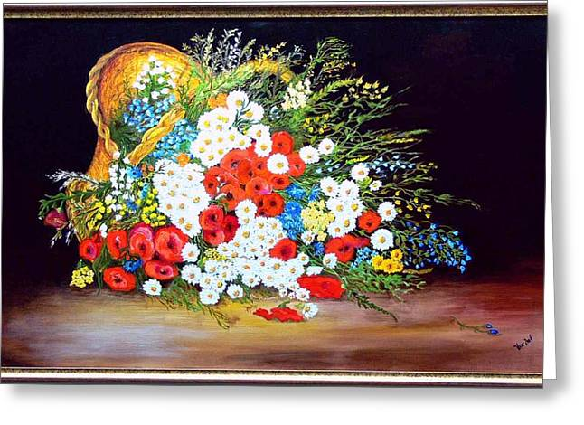 Basket With Summer Flowers Greeting Card by Helmut Rottler