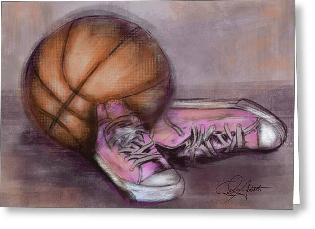 Basketball And Pink Shoes Greeting Card by Dani Abbott