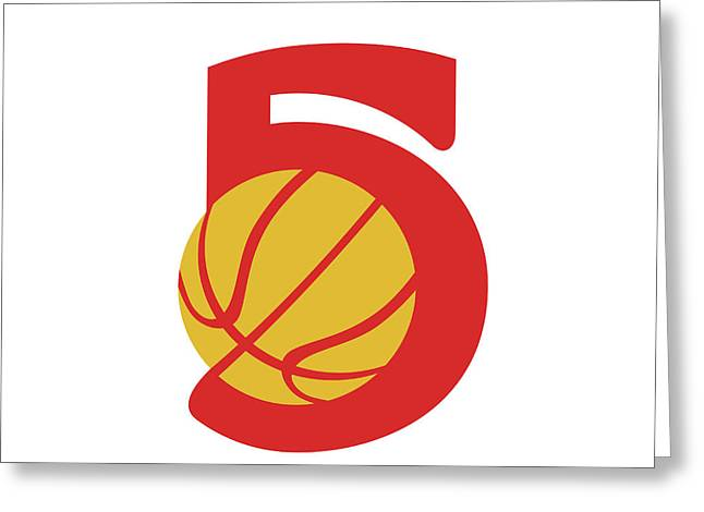 Basketball Ball Five Retro Greeting Card