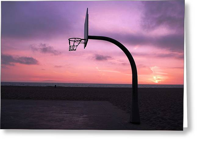 Basketball Court At Sunset Greeting Card